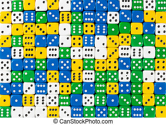 Pattern of random ordered white, yellow, green and blue dices