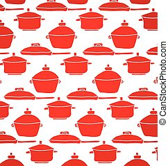 pattern of red pots and pans for the kitchen