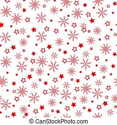 Pattern of red snowflakes on a light background. Snowflake vector pattern. - Vector