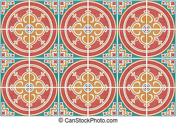 Pattern of retro style wall tile texture for background