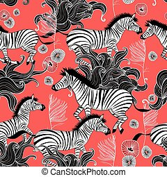 pattern of running zebras - Beautiful vector graphic pattern...