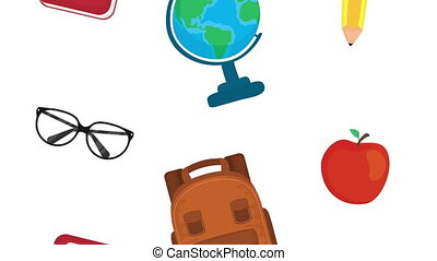pattern of school supplies animation