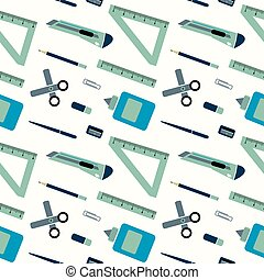 Pattern of schools supplies from student's backpack. Vector flat illustration.