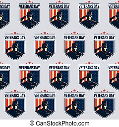 Pattern of Shield with Soldier saluting against USA Flag. Veterans Day