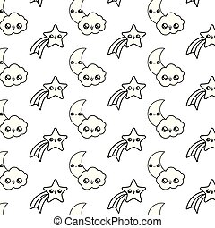 pattern of shooting stars with moons and clouds kawaii style