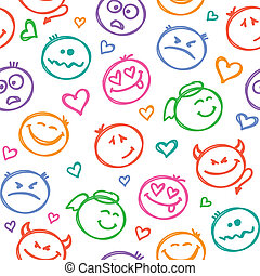 pattern of smiles - seamless pattern of hand drawn colorful...