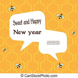pattern of the bee on honeycombs background for rosh hashana