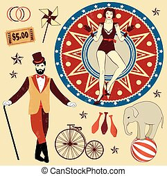 Pattern of the circus - Circus Ticket on tree background....