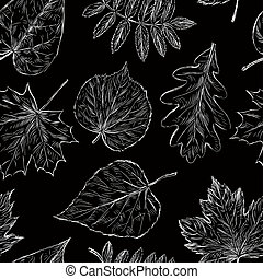 Pattern of the fall leaves sketches