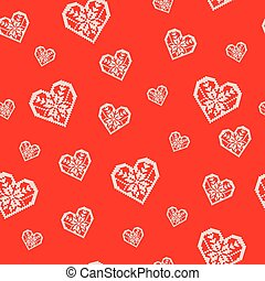 Pattern of the Heart Ornament on a Red Background