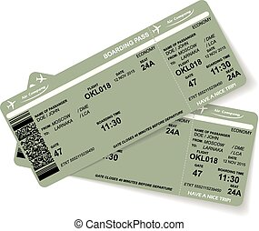 Pattern of two airline boarding pass ticket