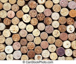 pattern of used wine bottles corks