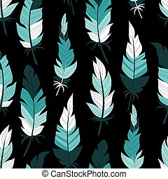 Pattern of vintage colored feathers.