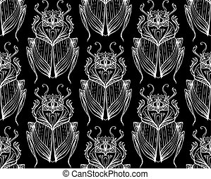 Pattern of white scarab with boho pattern on  black background.