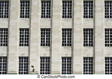Pattern of windows on the facade of a building