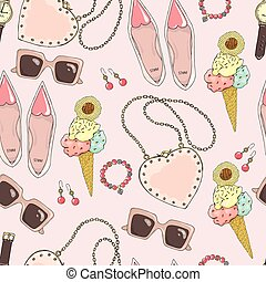Pattern of women accessories and ice cream on a pink background.