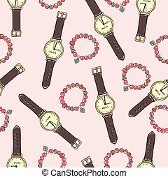 Pattern of women accessories and ice cream on a pink...