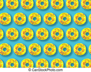 Pattern of yellow donuts on a blue background.