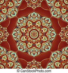 Pattern on a red background.