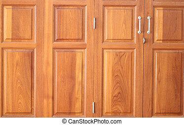 Pattern on brown wood door.