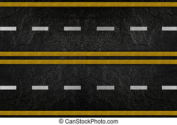 Pattern on road texture with yellow stripe