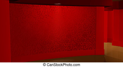 Pattern on wall, red