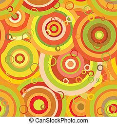 pattern:, orange, cercles, seamless