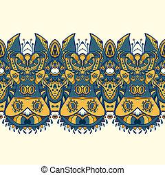 pattern., ornament, seamless, indiër, ethnische , horizontaal