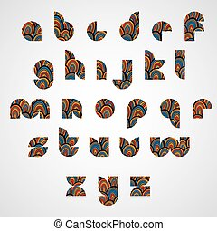 Pattern ornamental colorful abstract font, lower case letters.