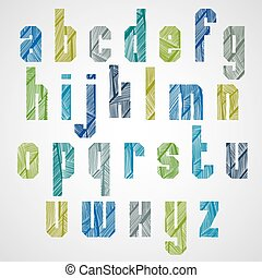 Pattern ornamental colorful fashionable font, rectangular lower case letters.