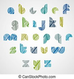 Pattern ornamental colorful fashionable font, lower case letters.