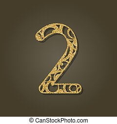 pattern., oro, número, laser, dos, vector, redondo, ...