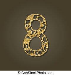 pattern., oro, número, laser, ocho, vector, redondo, ...