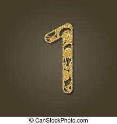 pattern., oro, número, laser, uno, vector, redondo, ...