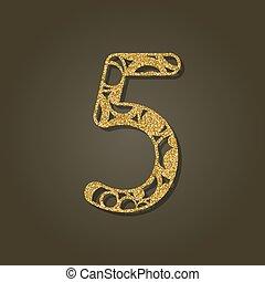 pattern., oro, número, laser, vector, cinco, redondo, ...