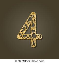 pattern., oro, número, laser, vector, cuatro, redondo, ...