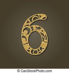 pattern., oro, número, laser, vector, seis, redondo, ...