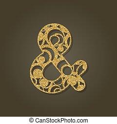 pattern., oro, signo &, laser, vector, redondo, illustration...