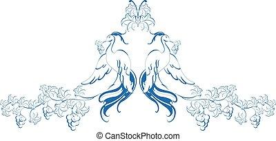 pattern., pássaros paraíso, com, vine., eps10, vetorial, ilustração