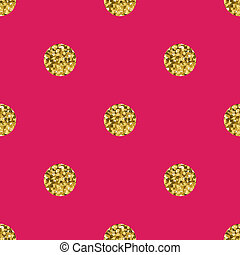 Pattern polka dot gold  on pink background.