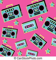 pattern radio with cassette of nineties retro