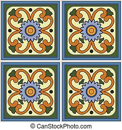 Pattern retro ceramic tile design with floral ornate. Endless texture.