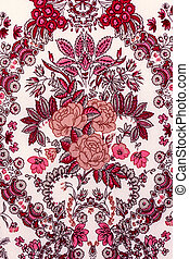 Pattern rose on the fabric for background