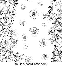 pattern., sakura, seamless