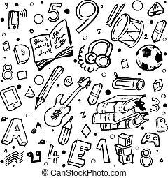School Pattern Black School Seamless Pattern With Education