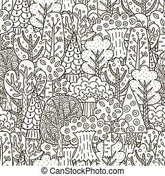 pattern., seamless, árboles, fantasía, bosque negro, plano de fondo, blanco