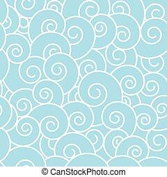pattern., seamless, 波