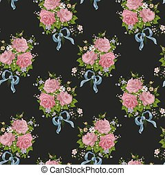 pattern., seamless, 玫瑰, 黑色的背景, 植物