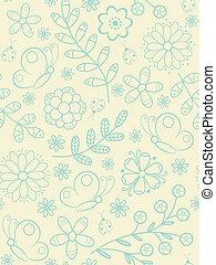 pattern., seamless, 花