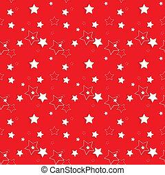 pattern., seamless, achtergrond., vector, sterretjes, illust, wit rood